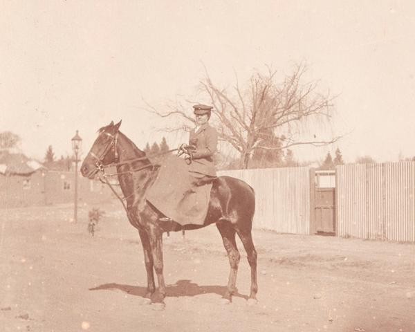 Member of the FANY on horseback, c1910