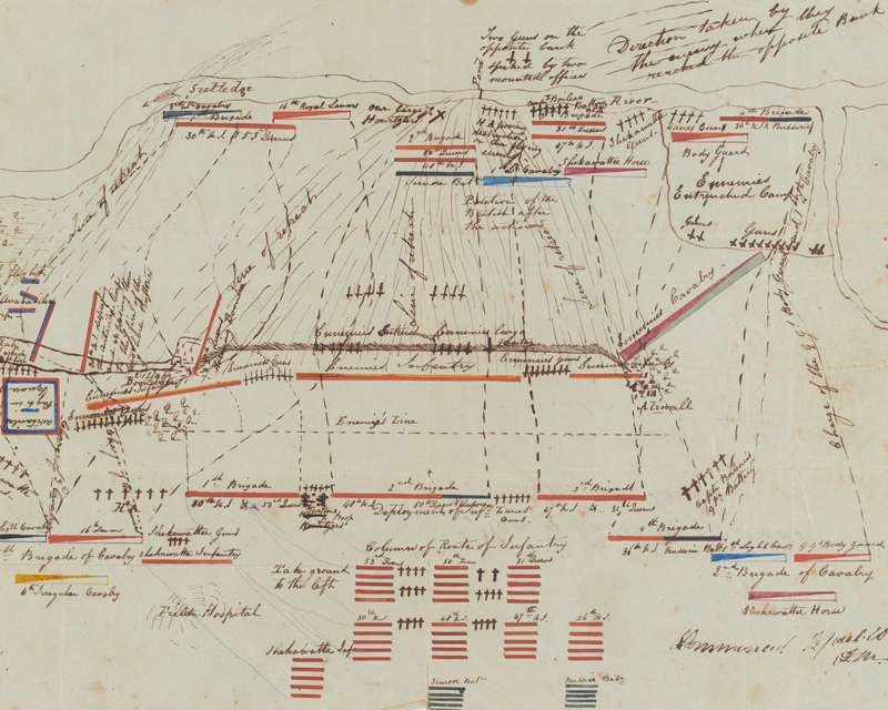 Plan of the Battle of Aliwal by Lieutenant Shakespear Sage, 30th Bengal Native Infantry, 1846