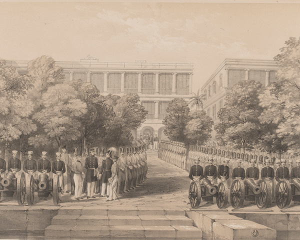 Soldiers and sailors at the British Factory at Canton, 1840s