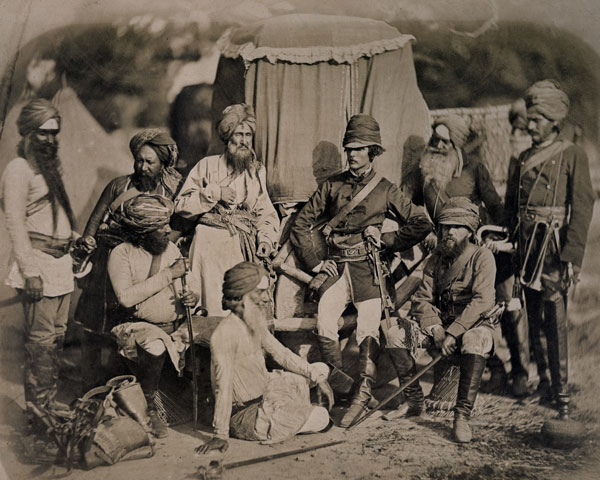 Sikh and British officers of Hodson's Horse, 1858