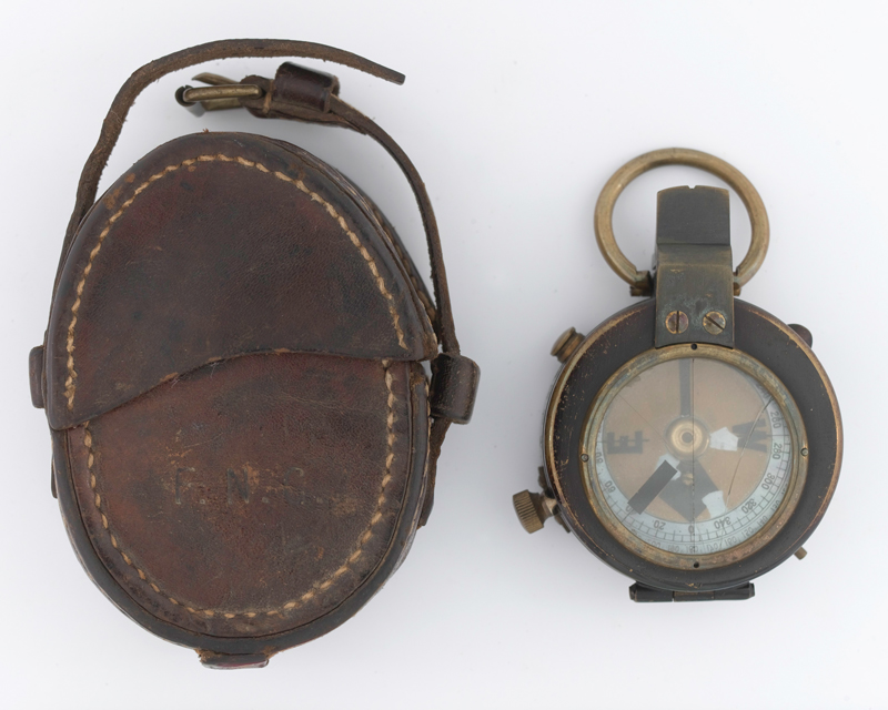 Francis Grenfell's prismatic compass and case, 1914
