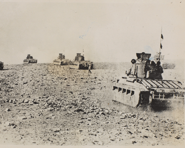 Matilda II tanks advance in the Western Desert, 1941