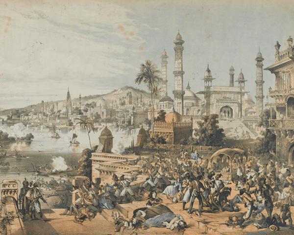 Nana Sahib's men attack the British as they board boats, 25 June 1857