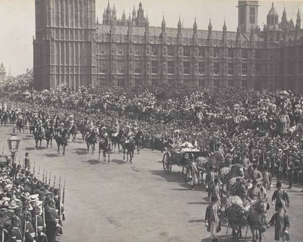 The military parade during Queen Victoria's Diamond Jubilee celebrations, 1897