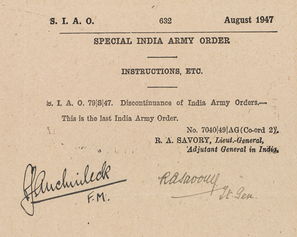 The Last Indian Army Oder, printed at New Delhi on 14 August 1947