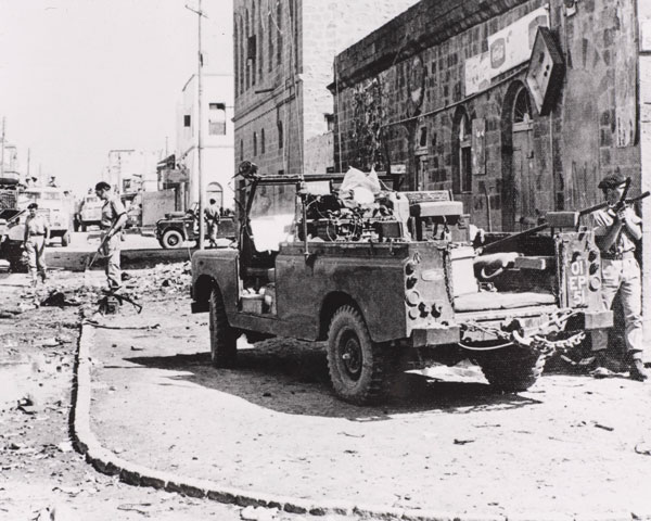 British soldiers patrol the streets of Aden, 1966
