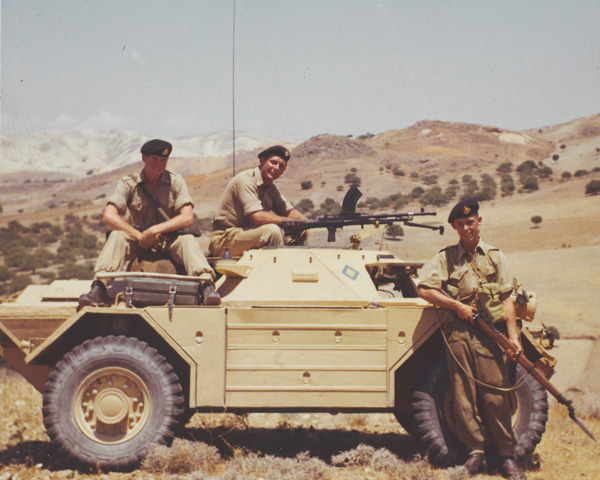 Soldiers of 1st Battalion, The Middlesex Regiment (Duke of Cambridge's Own), with a Ferret Scout Car in the Troodos mountains, 1957