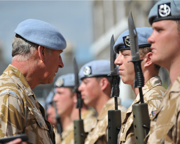 The Prince of Wales, Colonel-in-Chief of the Army Air Corps, presenting medals for service in Afghanistan, 2010