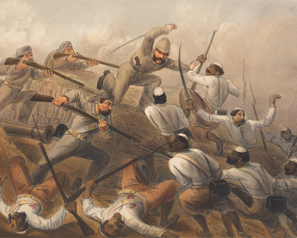 Detail of a print depicting events during the Indian Mutiny, 1857