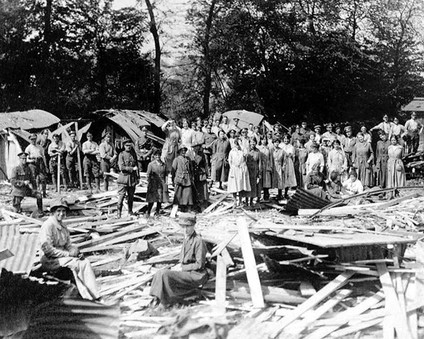 Members of QMAAC clearing up after an air raid at Abbeville, 1918
