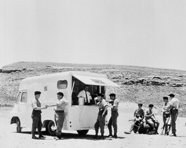British soldiers enjoy a brew from a NAAFI mobile van, Cyprus, 1964