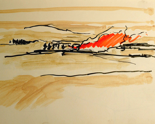Original sketch for Battle, Afghanistan, 2010 by Jules George