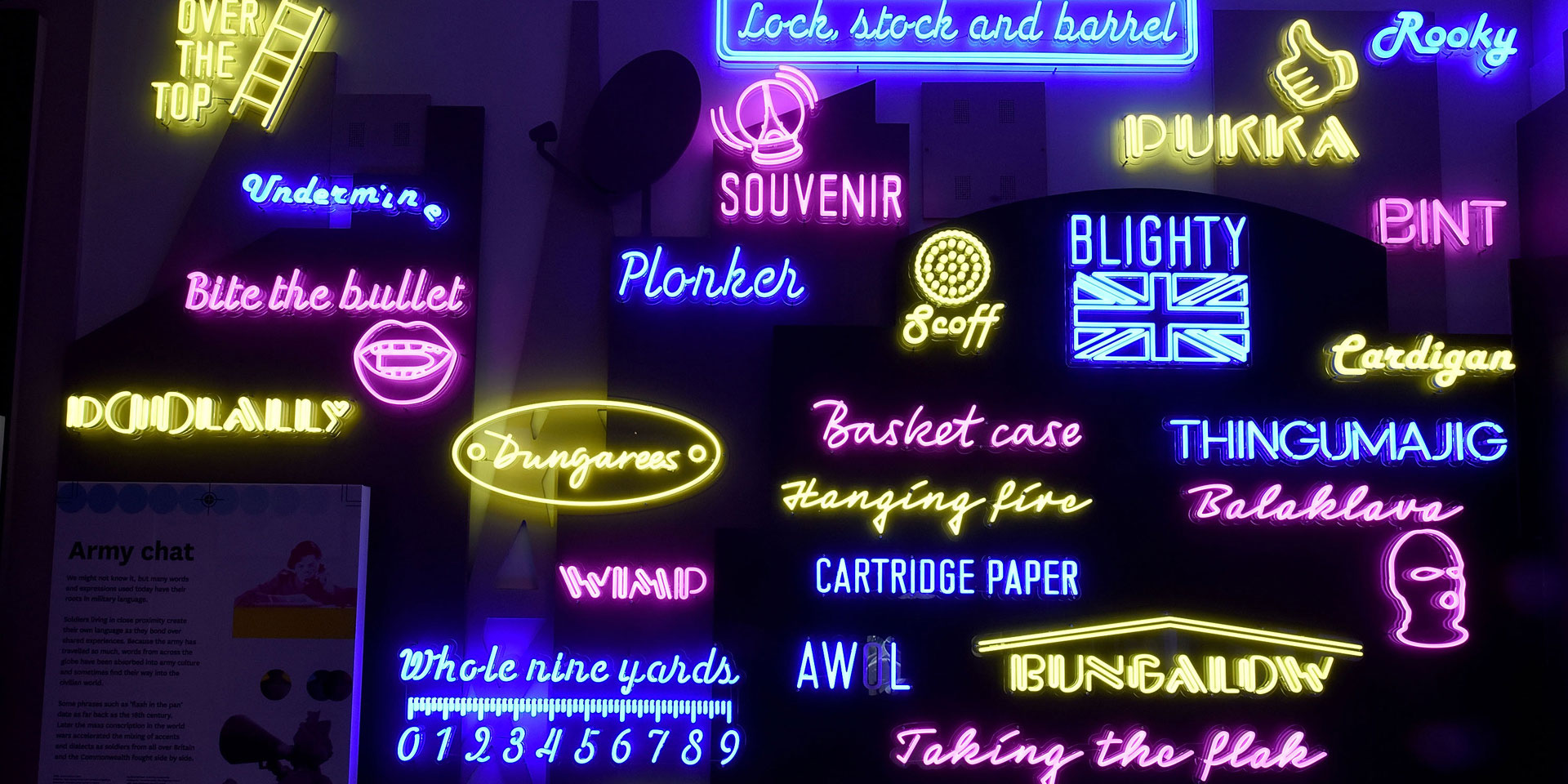 Neon signs in soldier gallery