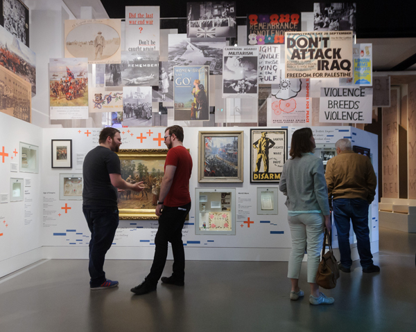 Display showing how the Army and conflict are portrayed and viewed by society