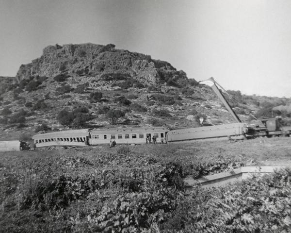 A train sabotaged by the Irgun near Binyamina, 1947