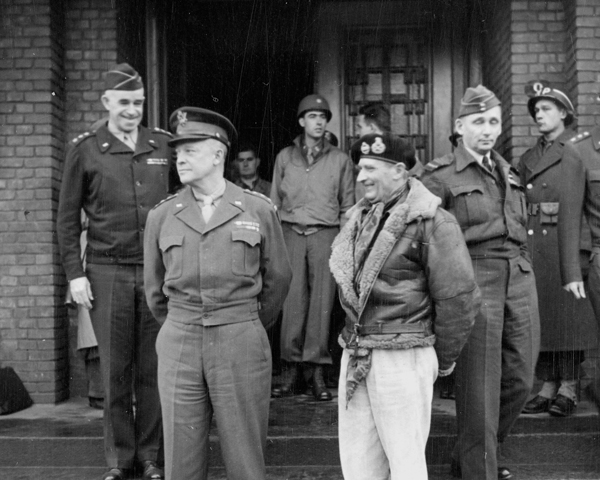 Allied commanders (from the left) General Bradley, General Eisenhower and General Montgomery, 1944