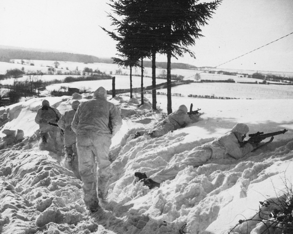 Men of 6th Airborne Division on patrol in the Ardennes, January 1945