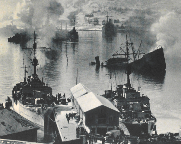 Bombed shipping at Narvik, 1940
