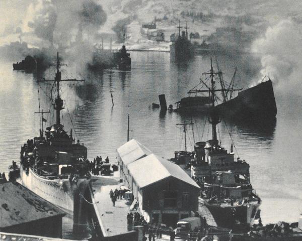 Bombed shipping at Narvik, 1940