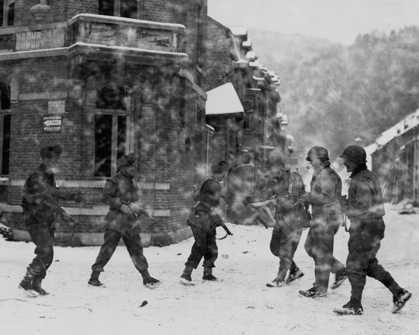 British and American troops meet at Laroche in the Ardennes, 1945