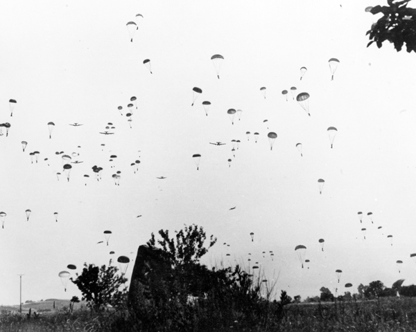German paratroops and their equipment descend from transport aircraft, Crete, 20 May 1941