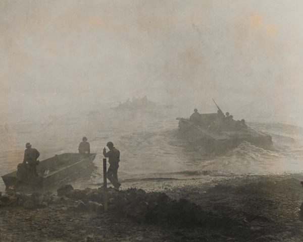 US 9th Army amphibious vehicles cross the Rhine under a smokescreen, March 1945
