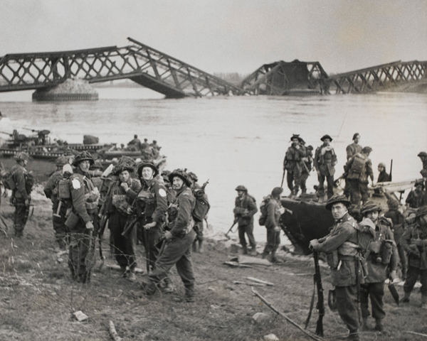 Soldiers of the Cheshire Regiment land from Buffaloes on the east bank of the Rhine, 24 March 1945
