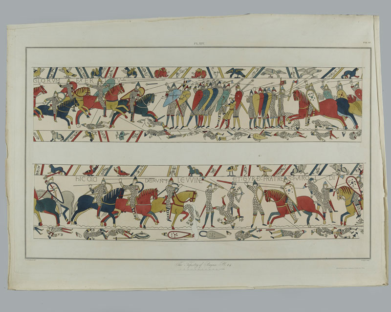 This engraving of the Bayeux Tapestry depicts the Battle of Hastings in 1066. King Harold's army included the fyrd, made up of men serving under local magnates at his request.