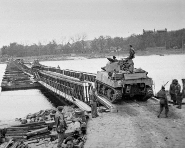 A tank of 3rd/4th County of London Yeomanry crosses the Elbe via a Class 40 Bridge erected by divisional engineers, 30 April 1945