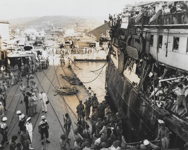 The refugee ship SS 'Exodus' at Haifa Docks, 1947