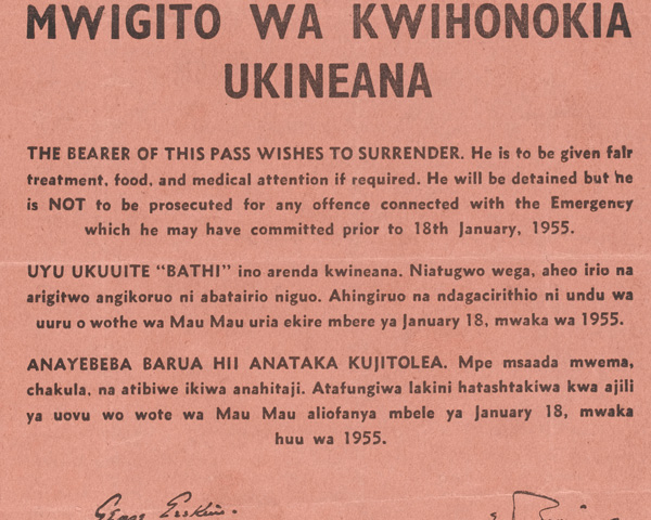 Safe conduct leaflet issued to persuade Mau Mau rebels to give themselves up, 1955