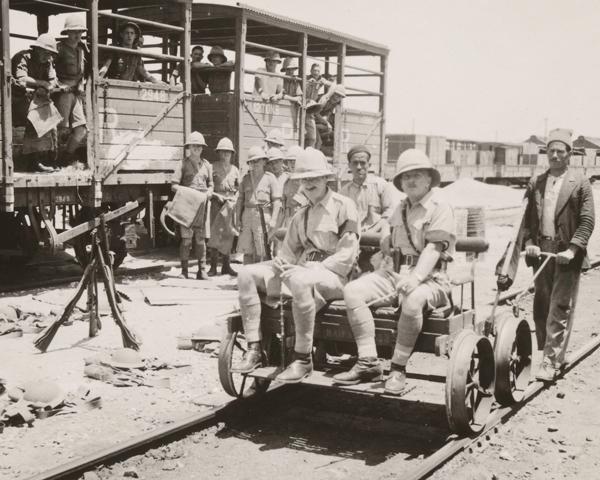Troops engaged in railway protection duties near Haifa, 1936