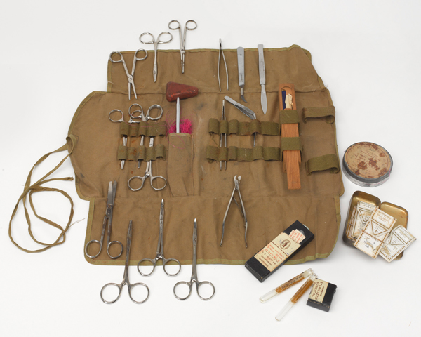 Medical kit used by Major John Grice who treated many of the sick and starving at Belsen, 1945