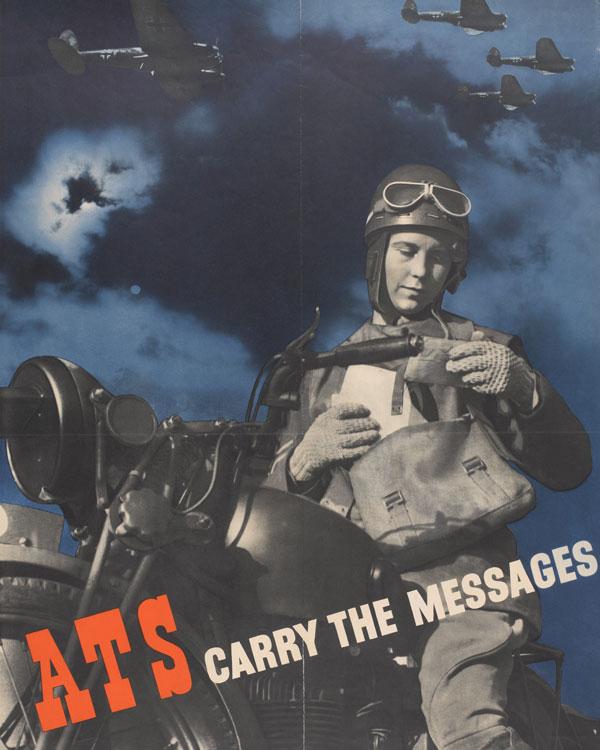 Recruitment poster depicting an ATS despatch rider, 1940