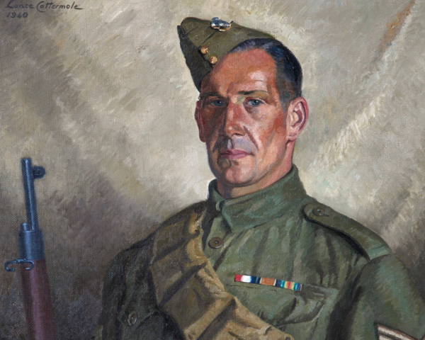 Sergeant Percy Stanford, Sussex Home Guard, by Lance Cattermole, 1940