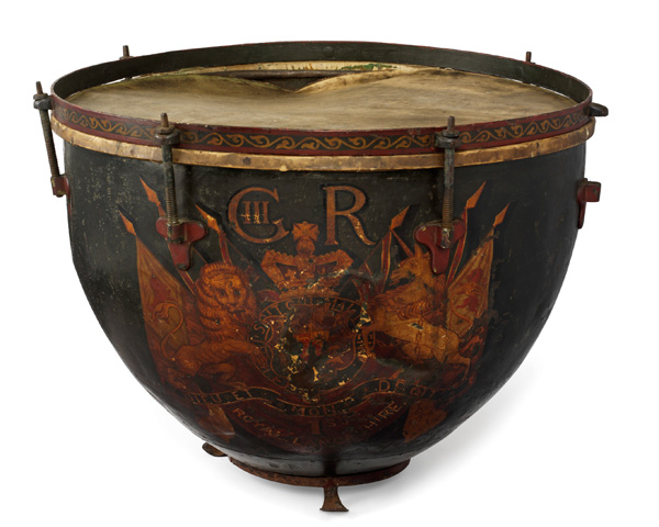 Kettle drum presented to the 1st Royal Lancashire Militia by King George III in 1805.