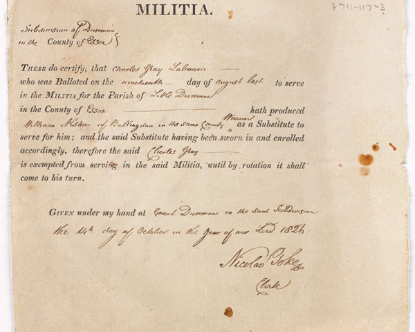 Militia substitute certificate for William Ashton in the place of Charles Gray, 1826.