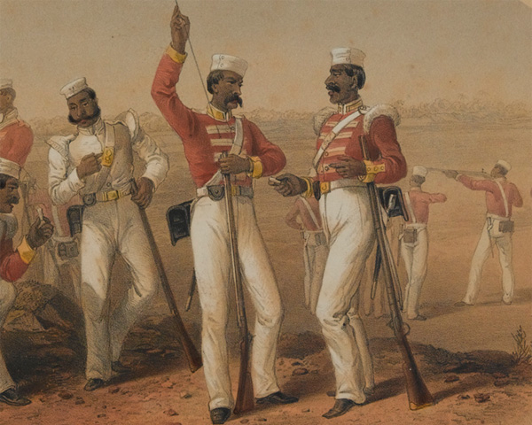 Sepoys at rifle practice, 1857