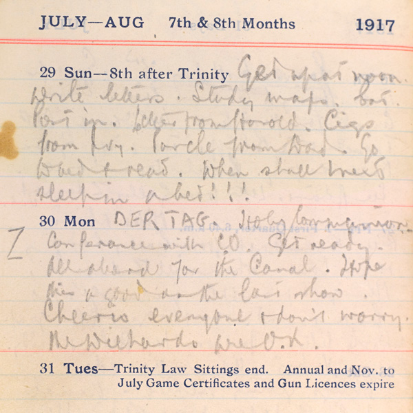 James Sutherland's pocket diary