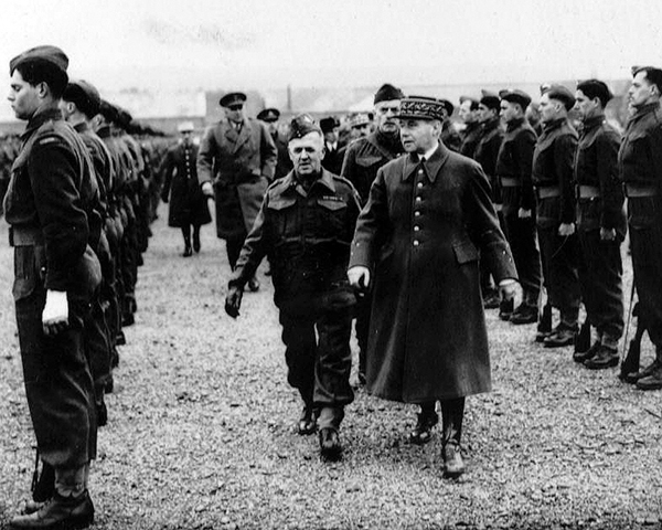 General Maurice Gamelin, French Commander-in-Chief, inspects Canadian troops at Aldershot, 1939