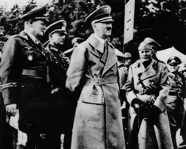Hitler and Mussolini at German air manoeuvres, 1937
