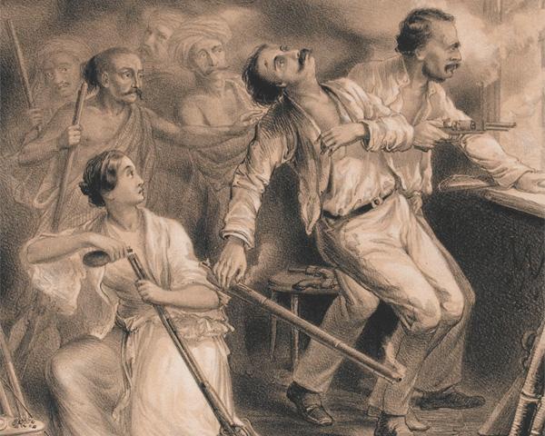 Captain Alexander Skene and Mrs Margaret Skene sheltering in the tower at Jhansi, 1857