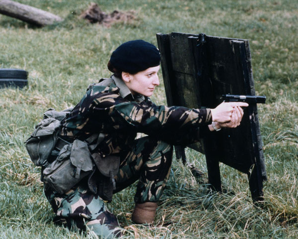 A WRAC officer cadet training at the Royal Military Academy, c1984