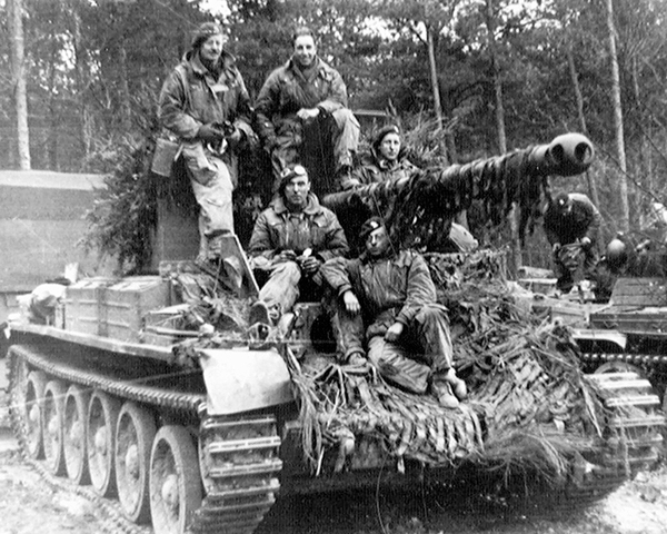 The crew of an 11th Armoured Division Challenger tank near Udem during the Reichswald battle, 4 March 1945