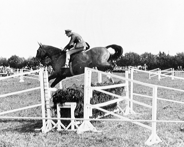 An officer of the 15th/19th King's Royal Hussars at an eventing contest, 1945