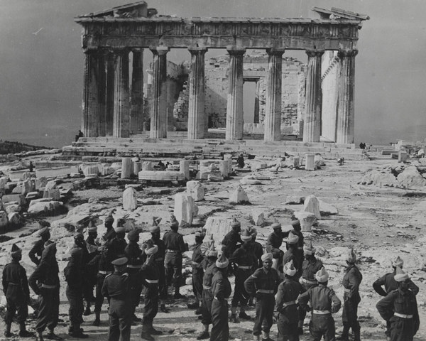 Indian troops touring the Acropolis, Athens, 1944