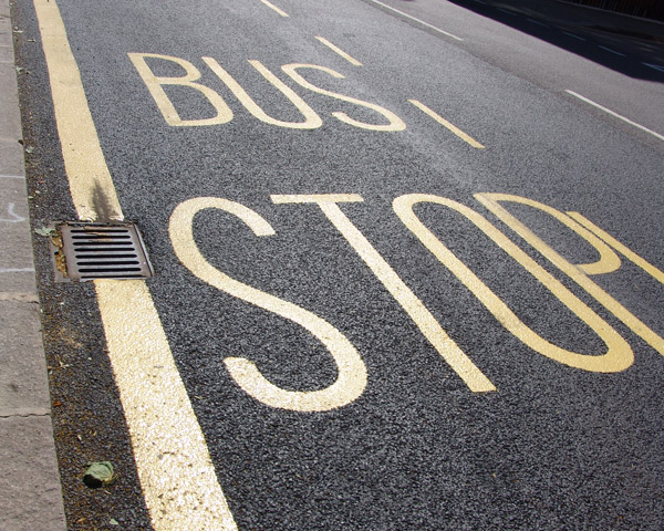Bus stop for setting down and picking up