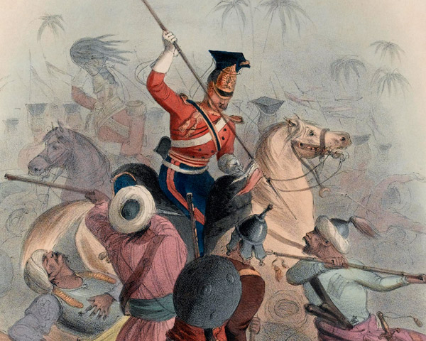 The 16th Lancers breaking the square of the Khalsa at Aliwal, 1846