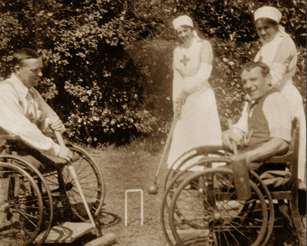 Wheelchair croquet at Eden Hall Convalescent Hospital, 1917