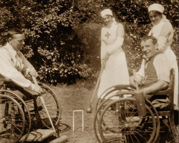 Wheelchair croquet at Eden Hall Convalescent Hospital, 1917